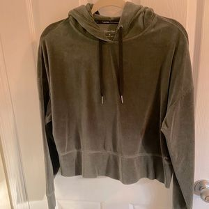 Calvin Klein Olive Green Velour Cropped Hoodie